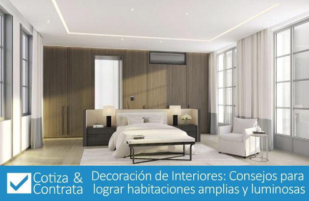 Decoración de Interiores: Consejos para lograr habitaciones amplias y luminosas